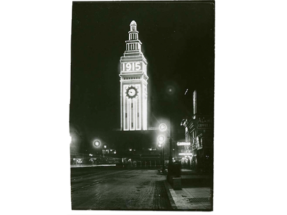 Ferry Building illuminated for Panama Pacific International Exposition, 1915