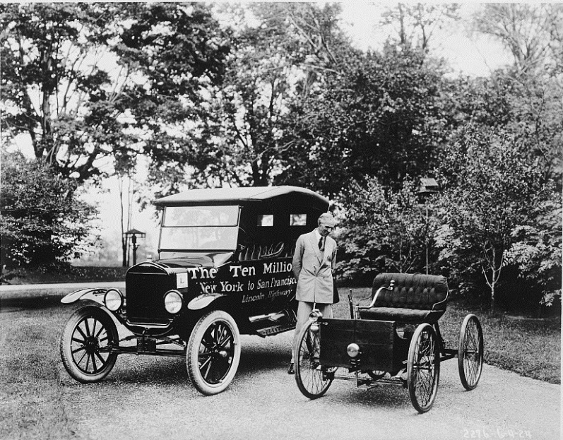 Henry Ford with the First and Ten Millionth Ford Produced in His Factories, 1924; Library of Congress. At the Panama-Pacific International Exposition, a Model-T was produced every ten minutes at Henry Ford's Concession in the Palace of Transportation.