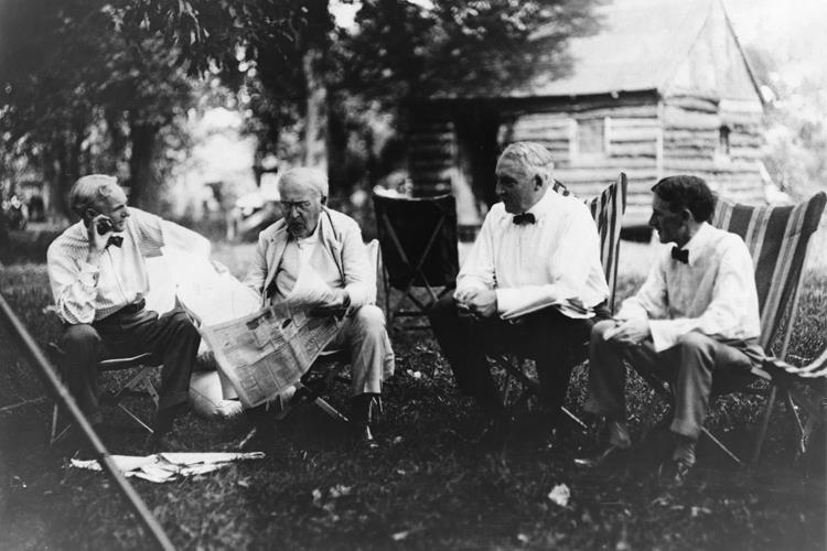 Henry Ford, Thomas Edison, President Warren Harding, and Harvey Firestone, 1921