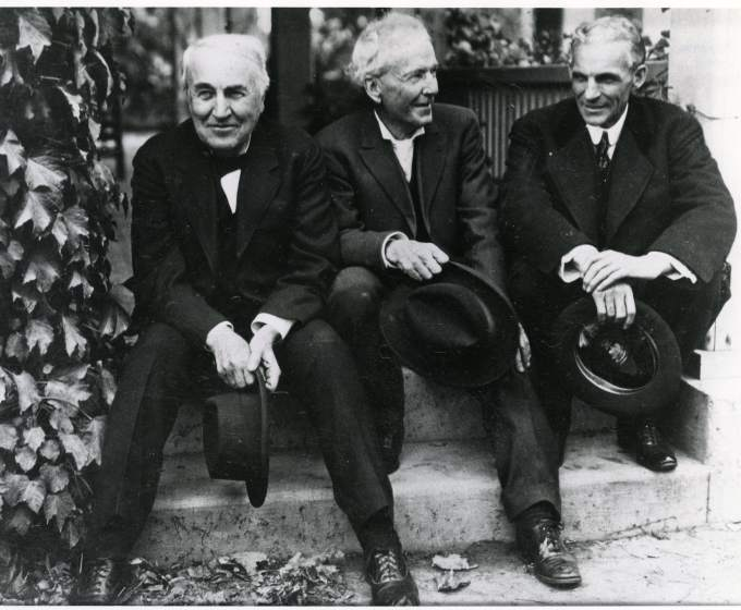 The Meeting of Thomas A. Edison, Henry Ford, and Luther Burbank on the Porch of Burbank's Santa Rosa Home, 1915, Luther Burbank, Twentieth Century Fruits (Santa Rosa, California, 1916-1917); Courtesy New York Botanical Garden, LuEsther T. Mertz Library/Biodiversity Heritage Library