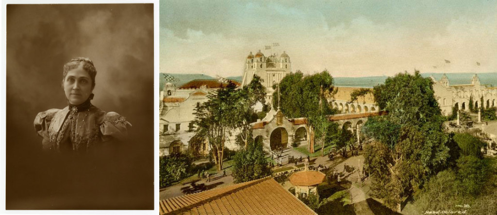 (Left) Phoebe Apperson Hearst, undated; California Historical Society, CHS2014.1867 (Right) California State Building, 1915; California Historical Society, CHS2014.1768