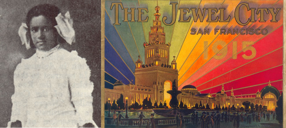 (Left) Virginia Stephens (detail), photographed in the NAACP's The Crisis, vol. 11, no. 1 (November 1915); Laura Ackley Collection. (Right) The Jewel City, San Francisco, 1915: Souvenir Views of the Panama-Pacific International Exposition, 1915; Laura Ackley Collectio