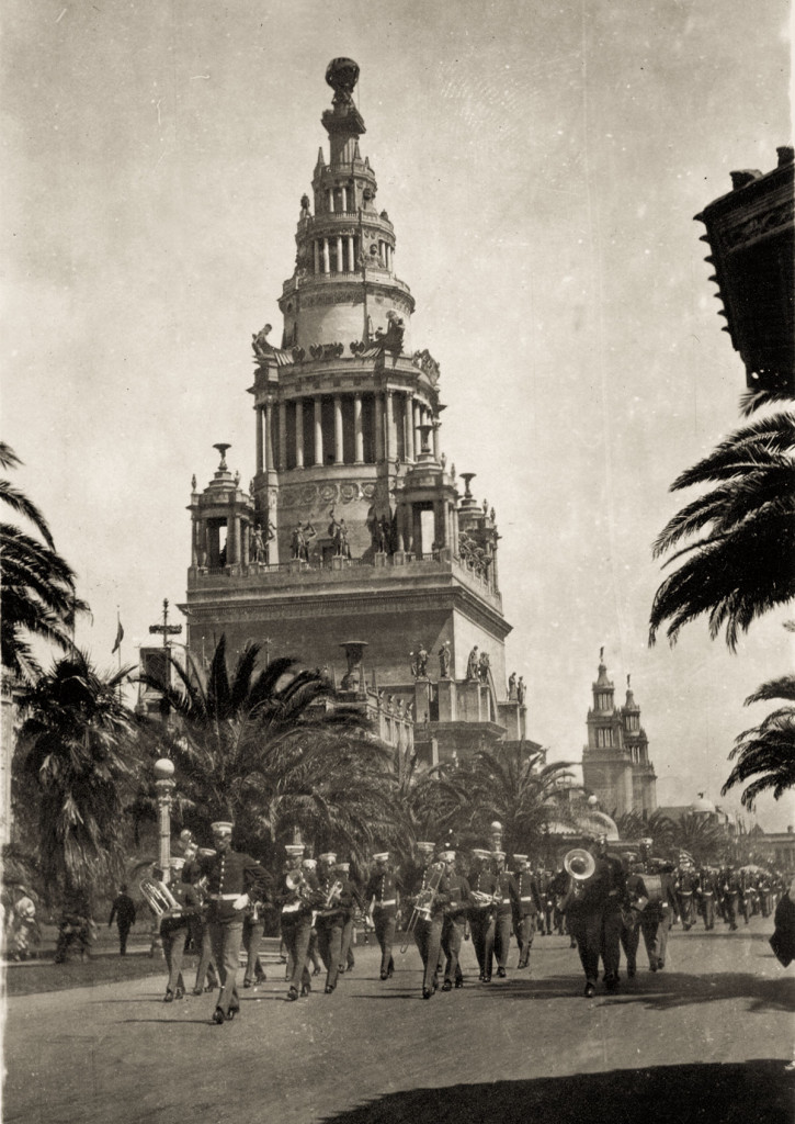 A Band Leads a Parade along the Avenue of Palms, 1915 Photographer unknown | Laura Ackley Collection