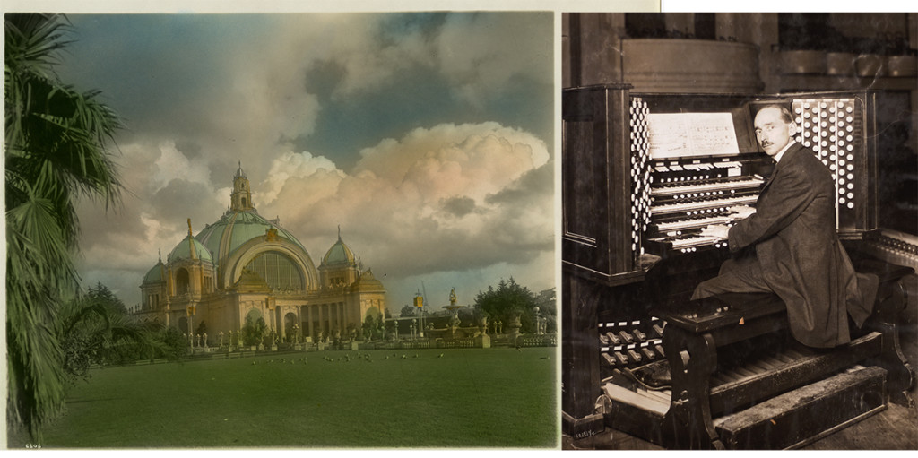 (Left) Festival Hall, 1915 Cardinell-Vincent Company | Collection of the Seligman Family Foundation (Right) Organist Playing the Great Exposition Organ, 1915 Photographer unknown | Collection of Edward A. Rogers