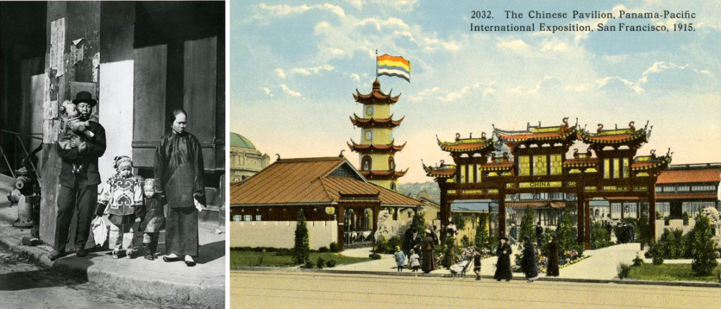(Left) Alice Sue Fun (center) in Arnold Genthe (Photographer), Waiting for the Car, Chinatown, San Francisco, c. 1904; Library of Congress/AMICA Library. (Right) The Chinese Pavilion, 1915; Collection of Glenn D. Koch