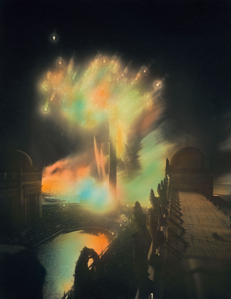 Fireworks as Seen from Behind the Stirling Calder's Star Maiden Figures atop the Colonnade of the Court of the Universe, 1915 Collection of Donna Ewald Huggins