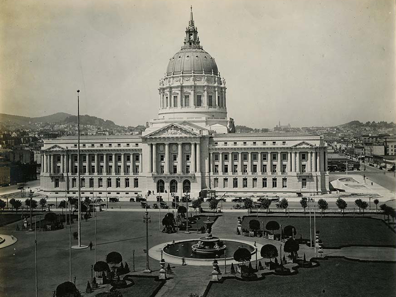 City Hall and Civic Center Plaza, circa 1915, courtesy, California Historical Society, CHS2015.2010